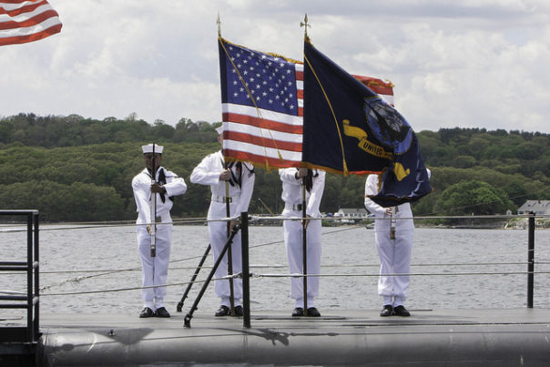 Members of the Naval Submarine School Silver Dolphins Color Guard present the colors aboard the USS Nautilus at the start of the Connecticut Wartime Service Medal Award Ceremony. Linked to the By: CT Senate Democrats  Flickr album of the ceremony.