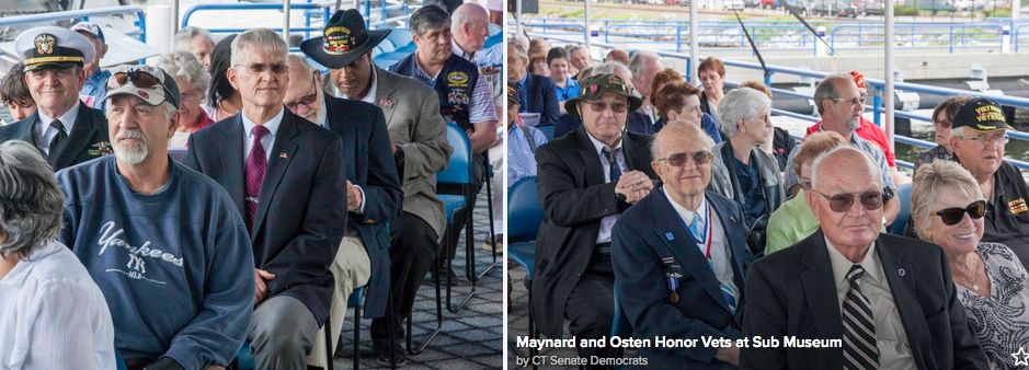 Honored - veterans, family members and friends attending the Connecticut Wartime Service Medal Award Ceremony at the Submarine Force Museum in Groton. The ceremony recognized 80 armed services veterans from Southeastern Connecticut. The recipients were given the medal that honors Connecticut veterans with qualifying wartime military service.