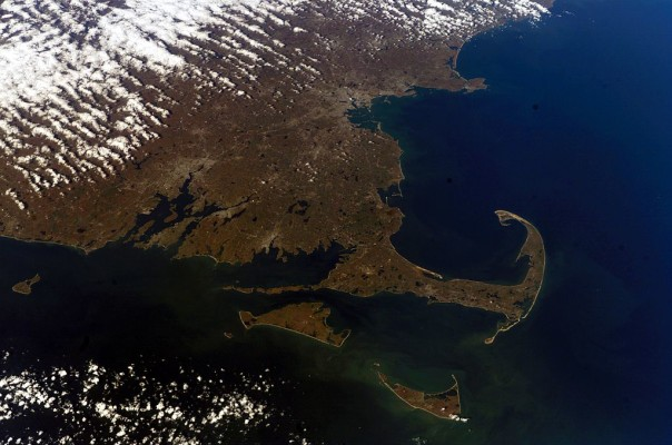 The curved arm of Cape Cod as seen from NASA Earth Observatory.