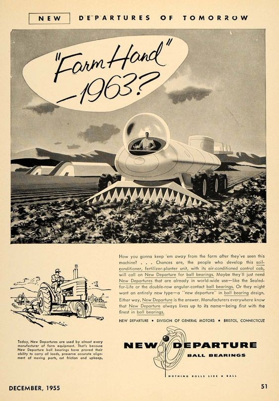 A vintage ad for New Departure - one in a futuristic series. Source: Pinterest