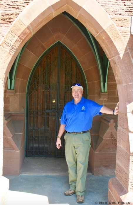 Chapel entrance of Indian Hill Cemetery and Norm Emond, superintendent.