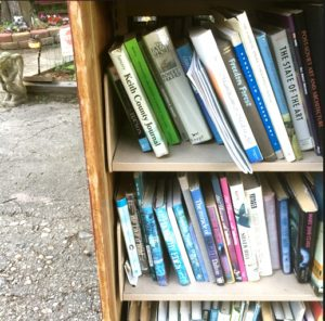 A shelf of books at The Niantic Book Barn