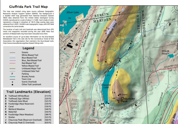 The Meriden Land Trust topographical map shows the elevation of the peak and other features. Image is linked to the land trust page for complete trail maps and information
