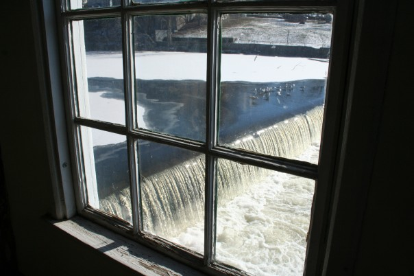 The Blackstone River as seen out of a window at the Slater Mill. Photo by Chris Brunson.