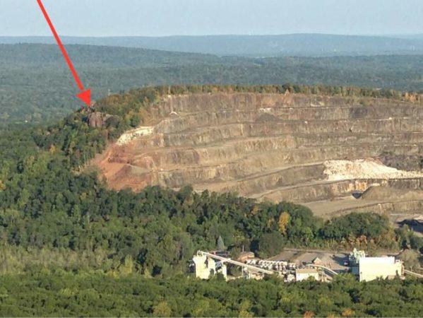 Chauncey Peak in Meriden, Connecticut and the quarry.