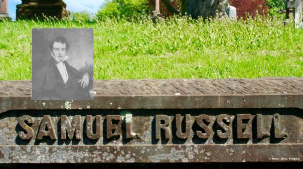 Samuel Russell - inset - and part of his memorial wall at Indian Hill.