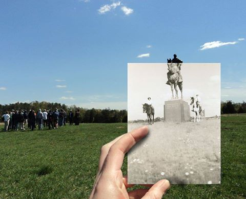 Then and now. Time overlaps at Manassas National Battlefield Park. That's the Stonewall Jackson Monument circa 1950 in the black and white image with riders flanking the monument. In 2016, riders are required to stay on designated bridle paths. Source: MNBP Facebook photo album which features other fascinating then-and-now photos, linked to this image.