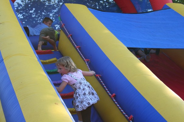 Cute and smart combine - the inflatable slide by the Brownstone Exploration Park at Powder Ridge was a hit with small fry. Photo by Chris Brunson, all rights reserved.