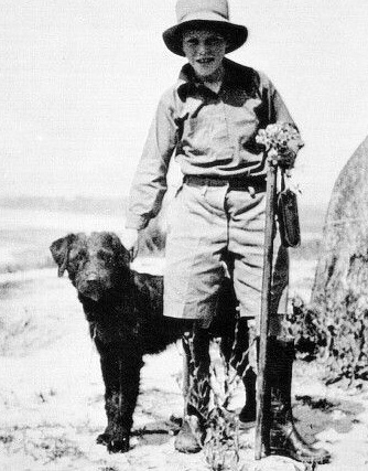Roger the dog and Gerald Durrell, whose curiosity and passion for the natural world led to amazing work. Image is linked to official site about his legacy ... and ongoing work.